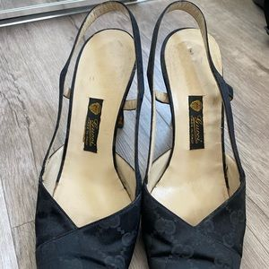 Vintage Gucci Black Slingback Shoes
